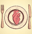 Sketch human heart on the plate in vintage style vector image