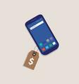 smart phone price tag dollar symbol of money label vector image