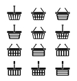Twelve silhouettes of shopping baskets icons vector image