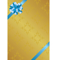 vector golden card with blue bowknot vector image