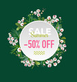 summer sale tropical orchid flowers banner vector image