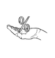 sketch of the percentage symbol and hand vector image