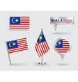 Set of Malaysian pin icon and map pointer flags vector image