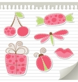 cute pink stickers vector image vector image