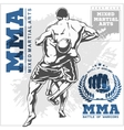 Match two fighters of martial mixed arts vector image
