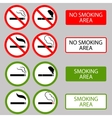 No Smoking Cigarette Smoke Prohibited Symbols vector image