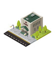 bank isometric buildings isolated vector image