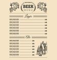 beer menu design template pub restaurant vector image