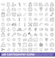 100 cartography icons set outline style vector image