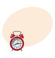retro style red analog alarm clock sketch vector image