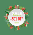 summer sale tropical flowers banner vector image