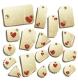 set of tags with hearts vector image vector image
