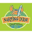 Cute crab surfer vector image
