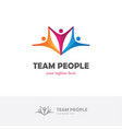 elegant colorful logo with three abstract human vector image
