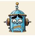 emoticon cry emoji robot head smiley emotion vector image