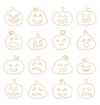 Halloween decorating Jack-o-Lantern silhouette set vector image