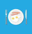 plate fork and knife eggs and sausages vector image