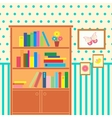 room with bookcase vector image