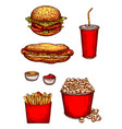 sketch icons fast food snacks or hamburgers vector image vector image