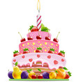 cake with fruit vector image