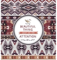 Motivation card with tribal seamless pattern vector image vector image