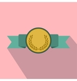 Medal with green ribbon flat icon vector image