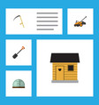 flat icon garden set of lawn mower cutter spade vector image
