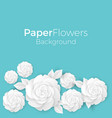 flowers background with paper blooming white 3d vector image