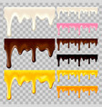 flowing chocolate honey and milk set vector image