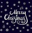 Merry Christmas lettering design EPS10 snowflake vector image