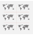 Set of striped world maps in different resolution vector image