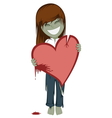 Zombie girl with a bloody heart vector image