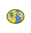 Organic Farmer Boy Holding Grapes Oval Retro vector image vector image
