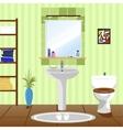 green bathroom with sink bathtub toilet vector image