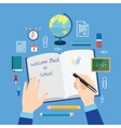 Back to School Flat Style Icon Set on Blue vector image