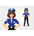 beautiful strict policewoman holding hands on hips vector image