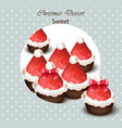 christmas cupcakes with strawberries vector image