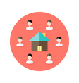 Real Estate Open House with People Circle Flat vector image
