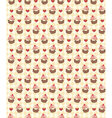 Seamless sweet pattern with cupcake and hearts on vector image