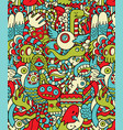 Seamless Hipster Doodle Monster Collage Pattern vector image vector image