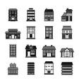 buildings set in black flat style vector image