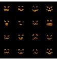 Halloween pumpkins faces on black background vector image vector image