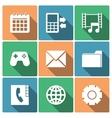 Phone Menu Icons With Long Shadows vector image
