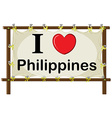 I love Philippines vector image vector image