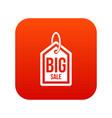 big sale tag icon digital red vector image