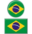 Brazilian round and square icon flag vector image