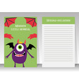 cute notebook template with happy monster vector image