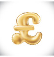 gold alphabet balloons pound sterling sign gold vector image