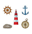 lighthouse anchor compass rope steering wheel vector image