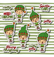 merry christmas with stickers pattern of boy gnome vector image
